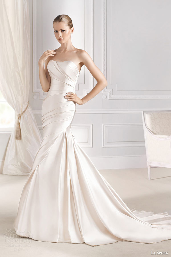 la sposa bridal 2015 fanal strapless wedding dress side draped mermaid gown