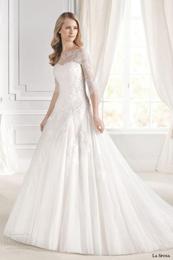 la sposa bridal 2015 mimosa a line romantic lace wedding dress three quarter illusion sleeves neckline