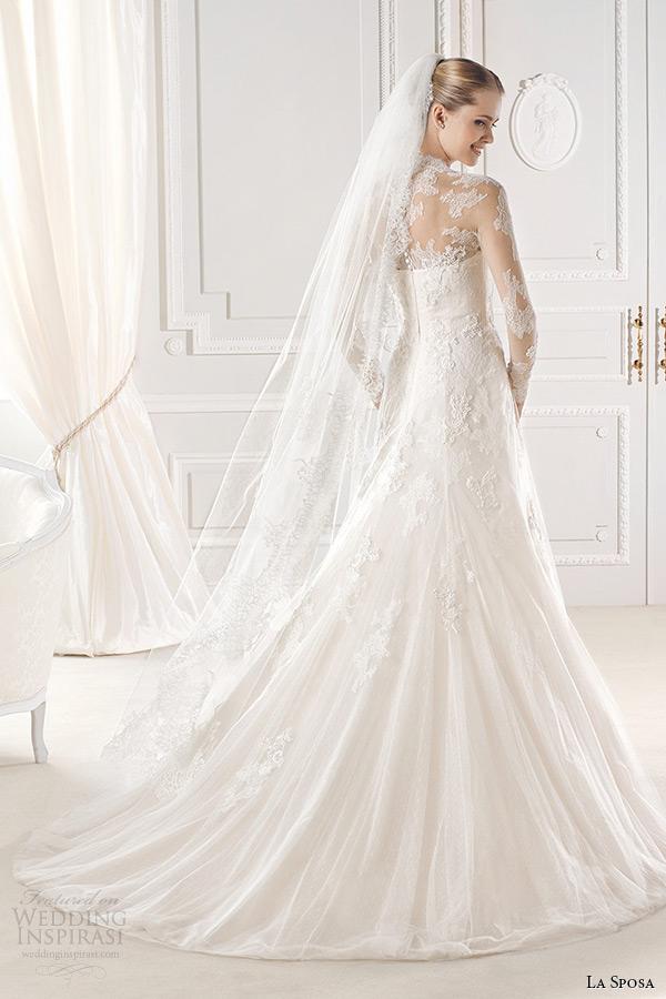 la sposa bridal 2015 wedding dress long sleeves lace sheer v neck a line wedding dress enid back view