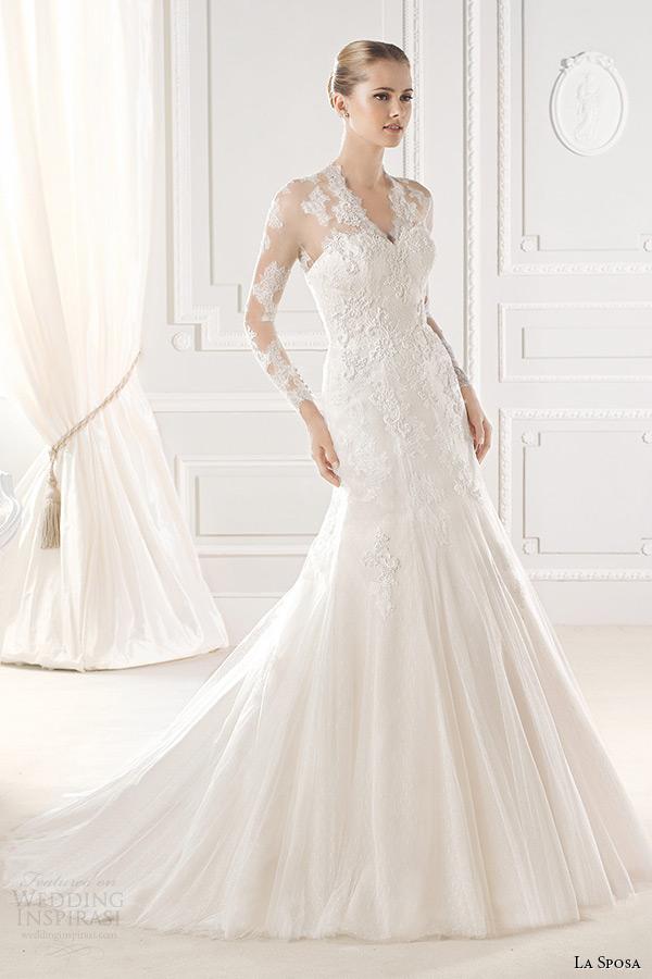 la sposa bridal 2015 wedding dress long sleeves lace sheer v neck a line wedding dress enid