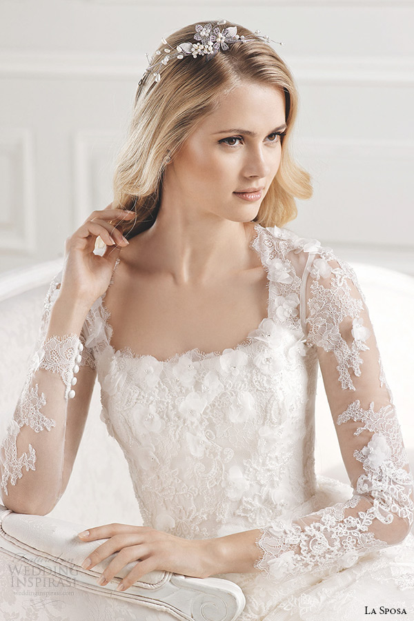 la sposa bridal 2015 wedding dress long sleeves square neckline fit and flare chapel train wedding gown eol close up