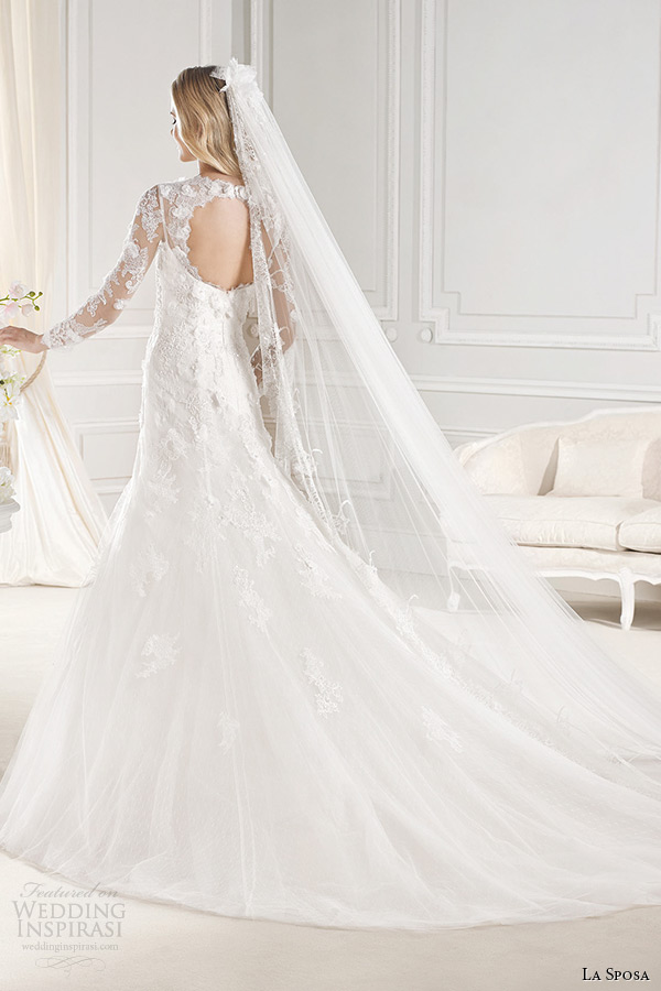 la sposa bridal 2015 wedding dress long sleeves square neckline fit and flare chapel train wedding gown eol