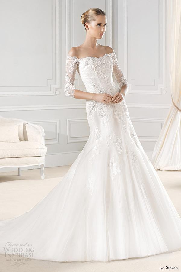 la sposa bridal 2015 wedding dress off the shoulder three quarter sleeves 3 4 sleeves lace trumpet wedding dress enrica