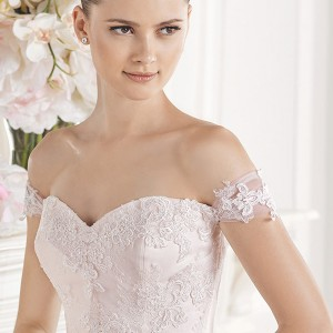 la sposa bridal 2015 wedding dress pink blush off the shoulder sweetheart neckline a line wedding dress enola close up