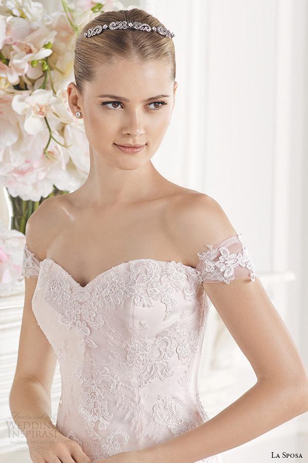 la sposa bridal 2015 wedding dress pink blush off the shoulder sweetheart neckline a line wedding dress enola close up