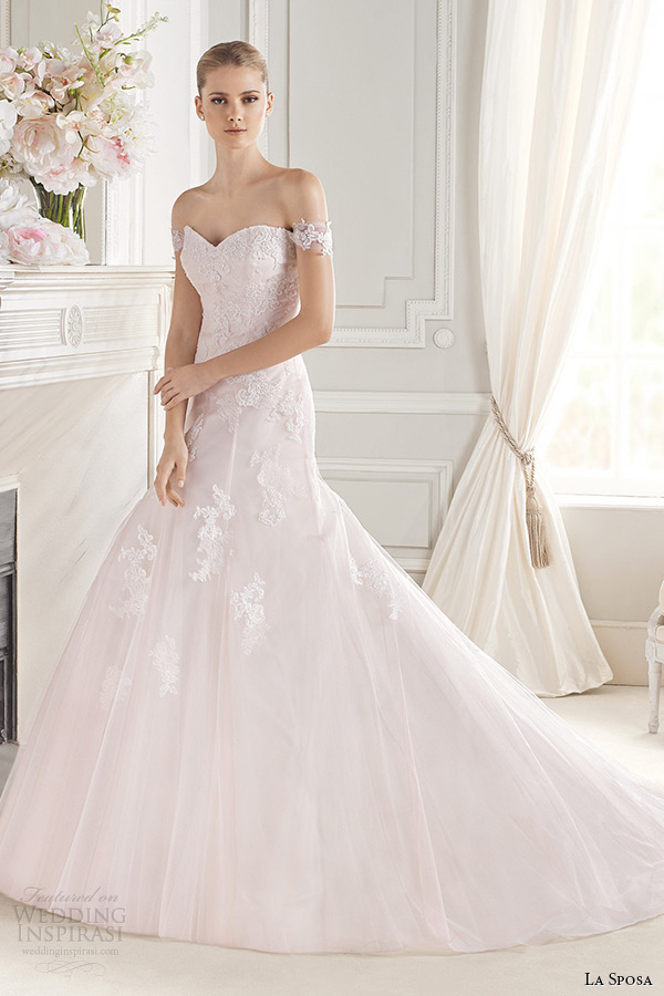 la sposa bridal 2015 wedding dress pink blush off the shoulder sweetheart neckline a line wedding dress enola