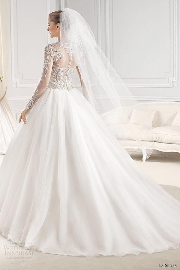 la sposa bridal 2015 wedding dress sheer jewel neckline long sleeves embellished bodice wedding ball gown chapel train ereden back view