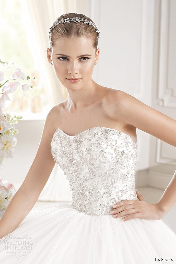 la sposa bridal 2015 wedding dress sheer jewel neckline long sleeves embellished bodice wedding ball gown chapel train ereden closeup