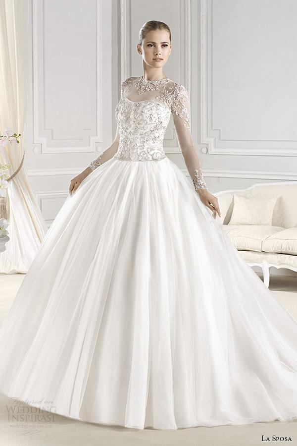 la sposa bridal 2015 wedding dress sheer jewel neckline long sleeves embellished bodice wedding ball gown ereden