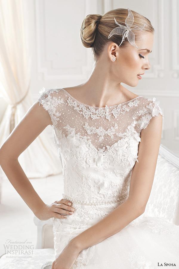 la sposa bridal 2015 wedding dress sleeveless bateau sheer neckline chapel train a line wedding gown eran close up