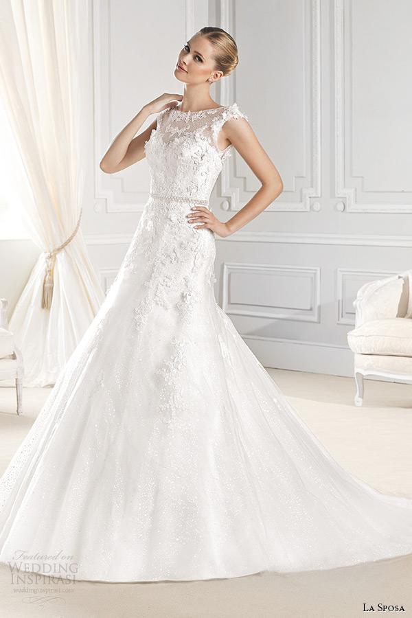 la sposa bridal 2015 wedding dress sleeveless bateau sheer neckline chapel train a line wedding gown eran
