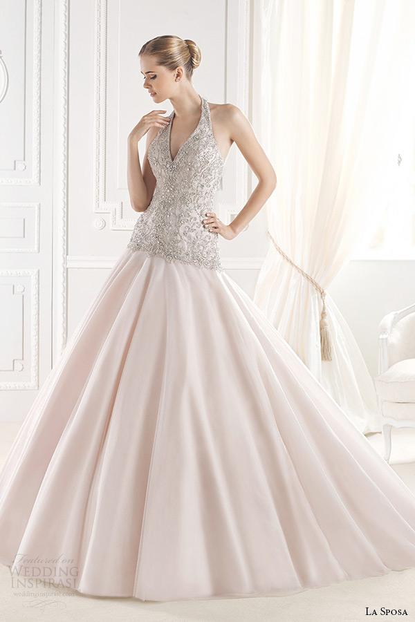 la sposa bridal 2015 wedding dress sleeveless halter neck embellished bodice pink blush a line wedding gown erinna