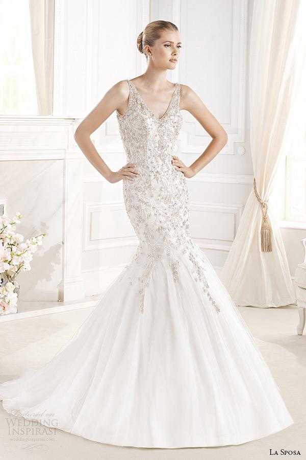 la sposa bridal 2015 wedding dress sleeveless v neck mermaid wedding gown erlinda