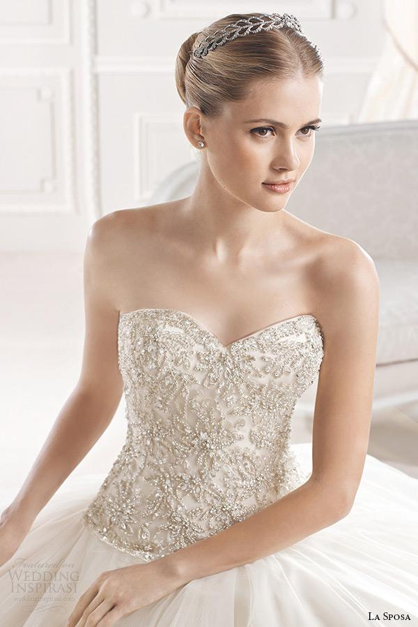 la sposa bridal 2015 wedding dress strapless sweetheart neckline embellished bodice a line wedding dress eriadu closeup