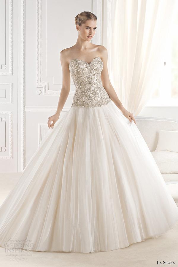 la sposa bridal 2015 wedding dress strapless sweetheart neckline embellished bodice a line wedding dress eriadu