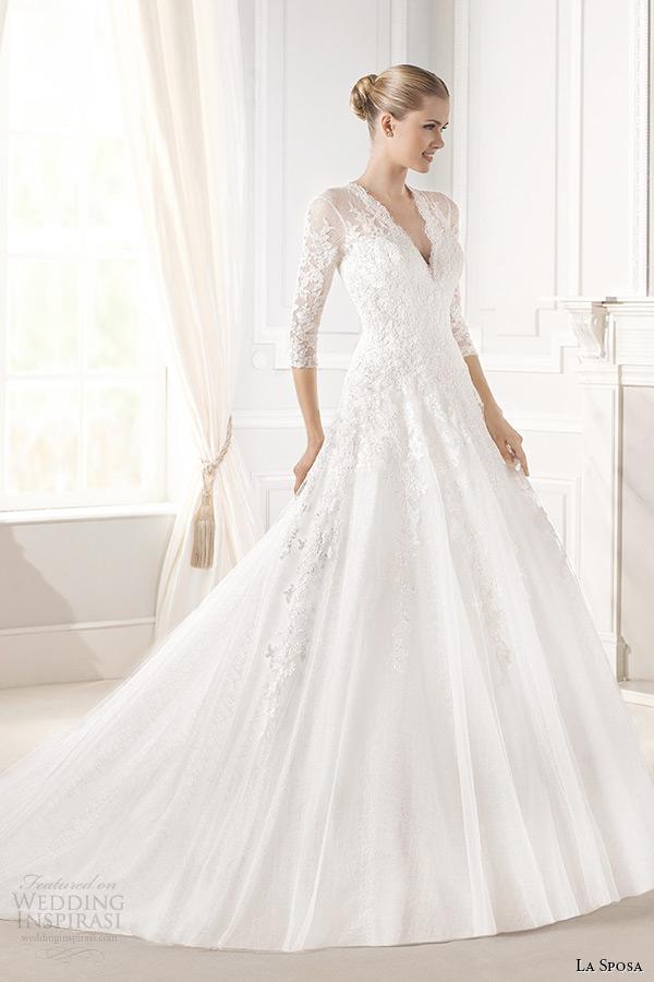 la sposa bridal 2015 wedding dress three quarter sleeves lace sheer v neck a line wedding dress engrin