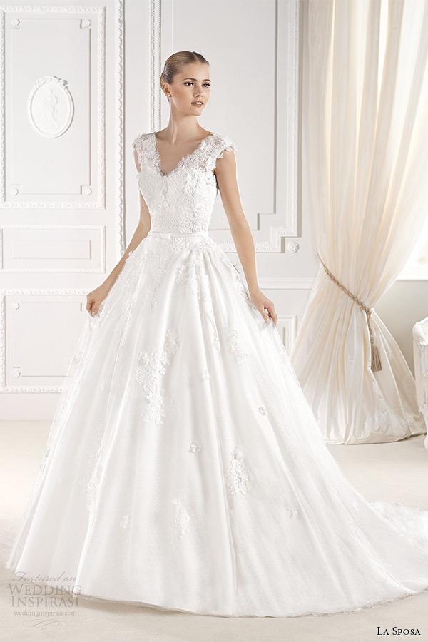 la sposa bridal 2015 wedding dress with straps sleeveless ball gown elilia