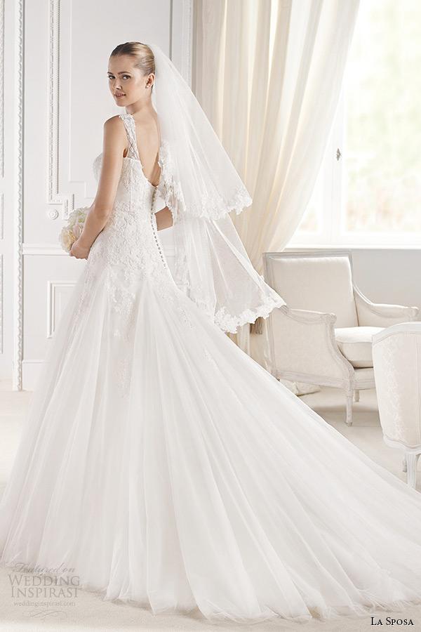 la sposa bridal 2015 wedding dress with straps sleeveless sweetheart neckling a line chapel train wedding gown elmina