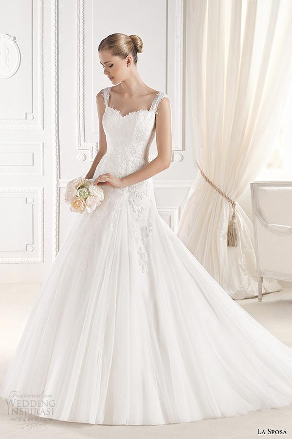 la sposa bridal 2015 wedding dress with straps sleeveless sweetheart neckling a line wedding gown elmina