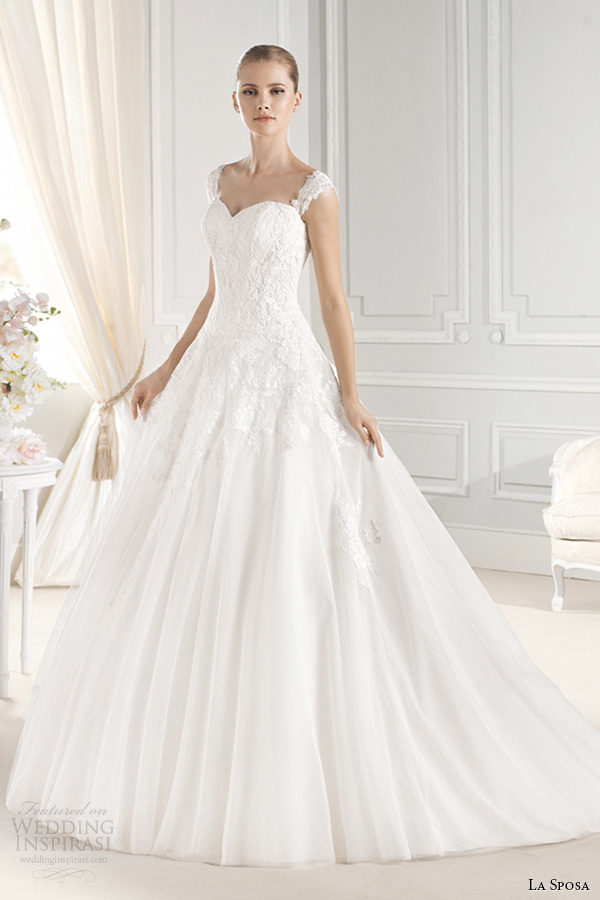 la sposa bridal 2015 wedding dress with straps sleeveless sweetheart neckling ball gown enelsa