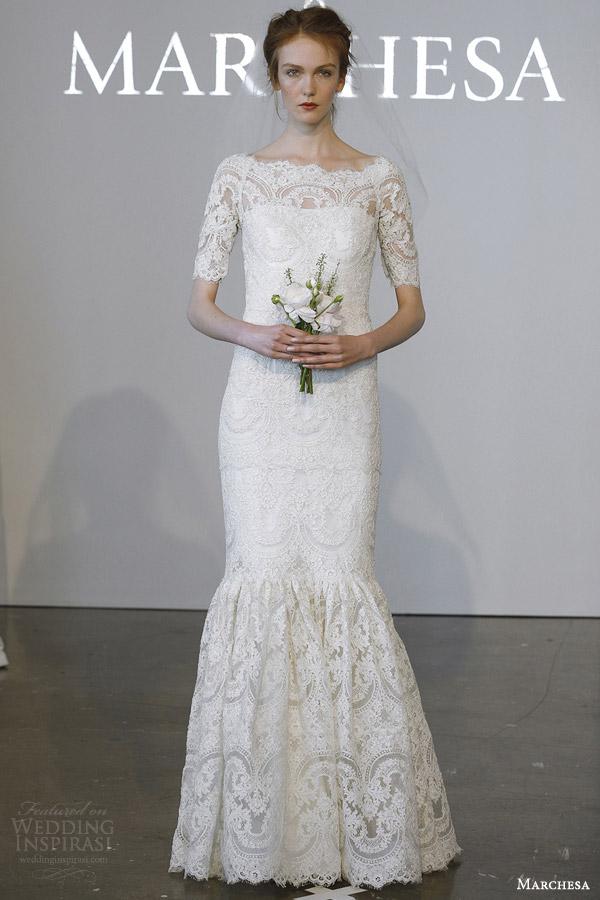 Short Sleeve Lace Wedding Dress 80 Popular marchesa bridal spring bateau