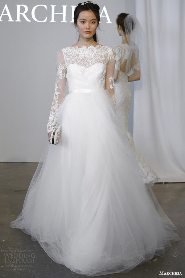 marchesa bridal spring 2015 illusion long sleeve wedding dress ethereal tullle ball gown skirt