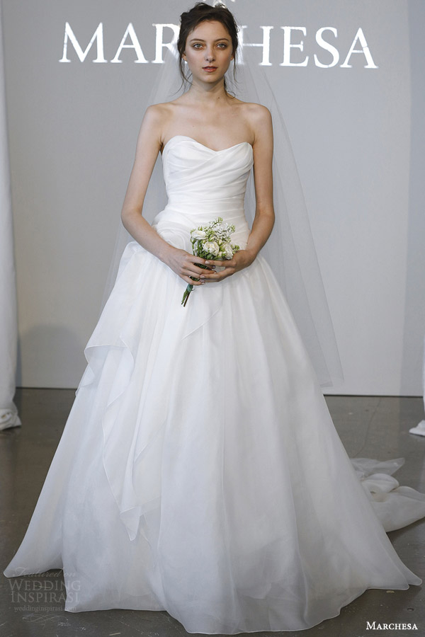 marchesa bridal spring 2015 strapless ball gown wedding dress