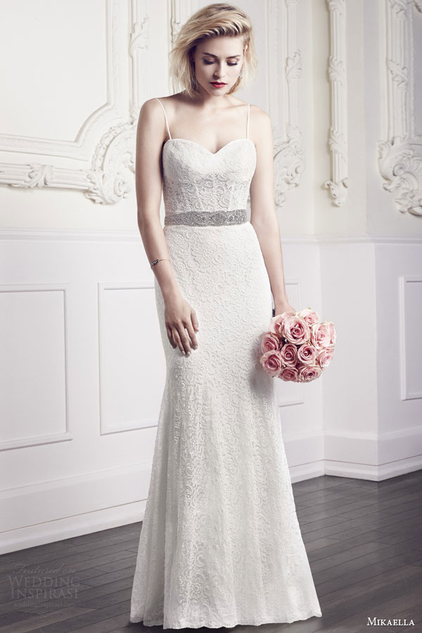 mikaella bridal spring 2015 style 1952 wedding dress lace sweetheart corset bodice exposed boning spaghetti straps removable beaded sash