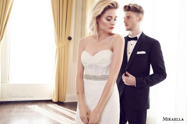mikaella bridal spring 2015 style 1952 wedding dress lace sweetheart corset bodice exposed boning spaghetti straps