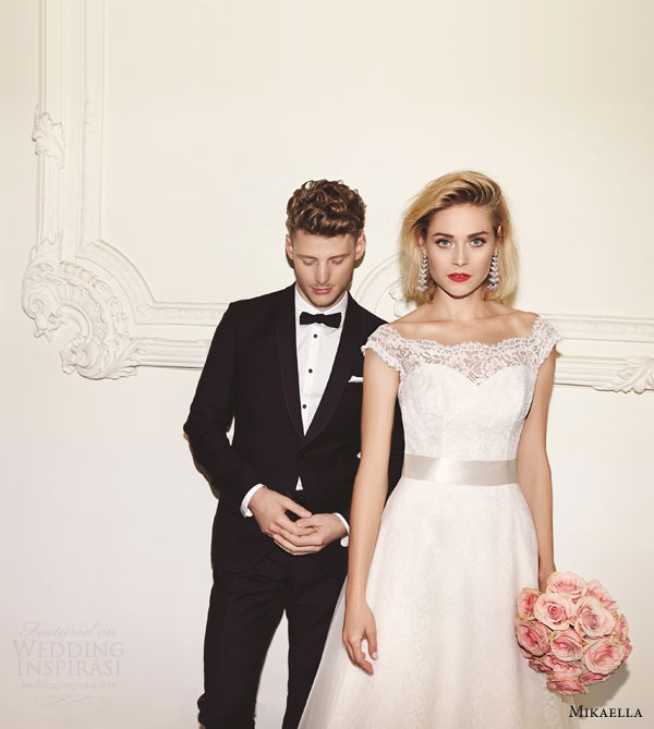 mikaella bridal spring 2015 style 1959 lace off shoulder a line wedding dress ad campaign