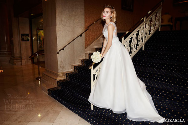 mikaella bridal spring 2015 style 1966 metallic lace sleeveless wedding dress organdy skirt ruched sash