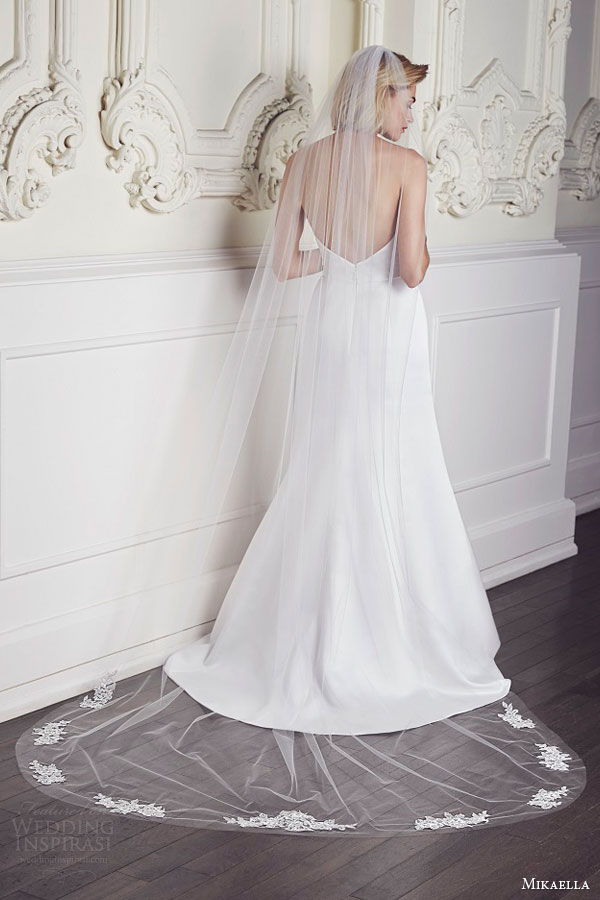 mikaella bridal spring 2015 style vm542 chapel length veil with metallic lace appliques