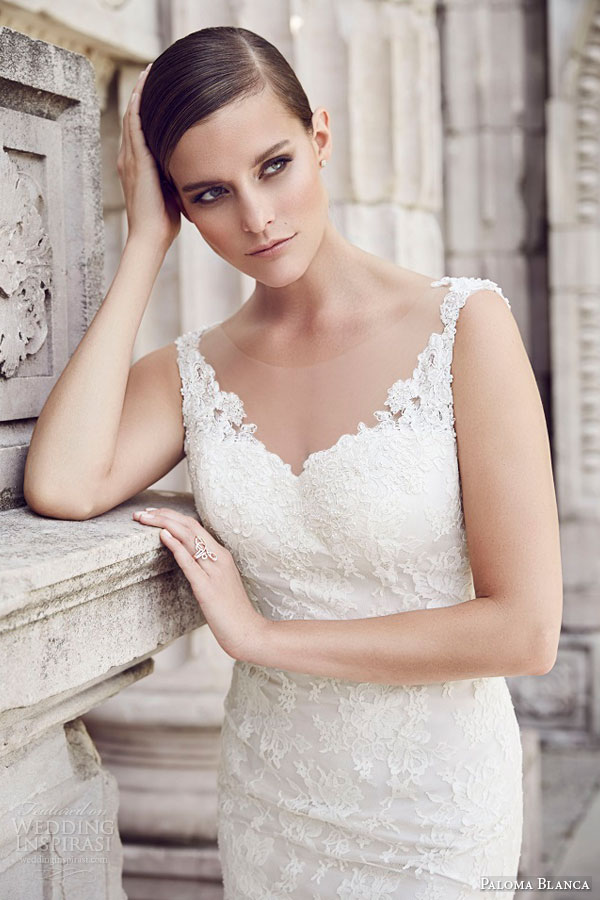 paloma blanca bridal spring 2015 style 4561 sleeveless chantilly lace wedding dress illusion neckline beaded applique