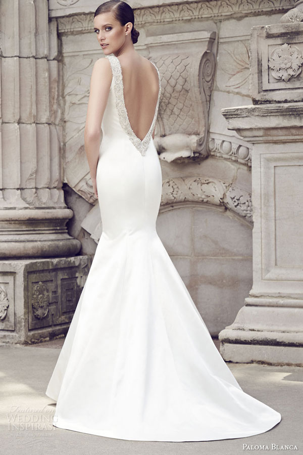 paloma blanca bridal spring 2015 style 4563 peau de soie sleeveless mermaid wedding dress applique straps low back