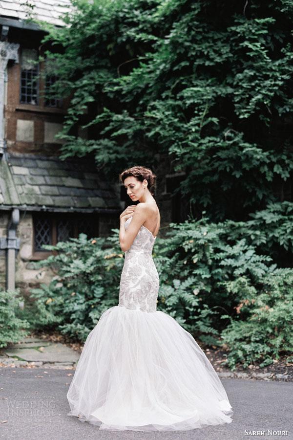 sareh nouri bridal fall 2015 alexandra strapless trumpet mermaid wedding dress sweetheart lace bodice