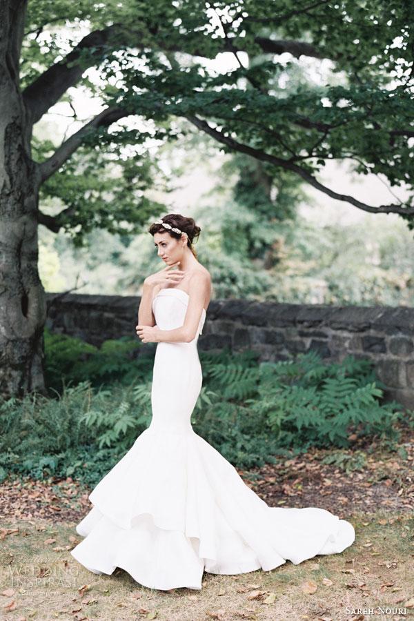 sareh nouri bridal fall 2015 azalia strapless mermaid trumpet wedding dress two tier horsehair skirt