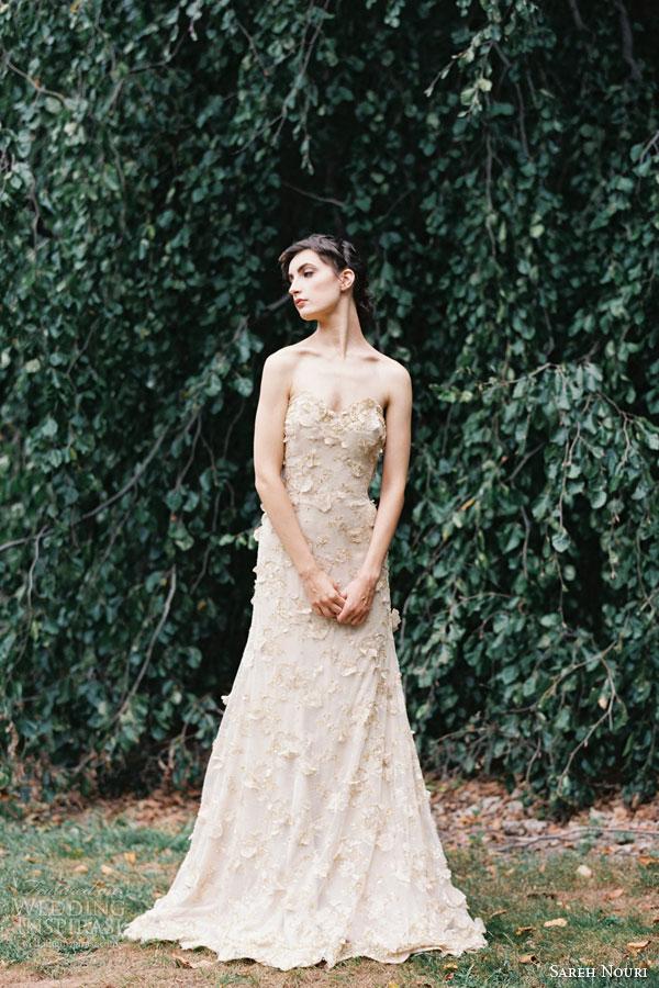 sareh nouri bridal fall 2015 cleopatra strapless blush sheath wedding dress hand sewn flowers appliques