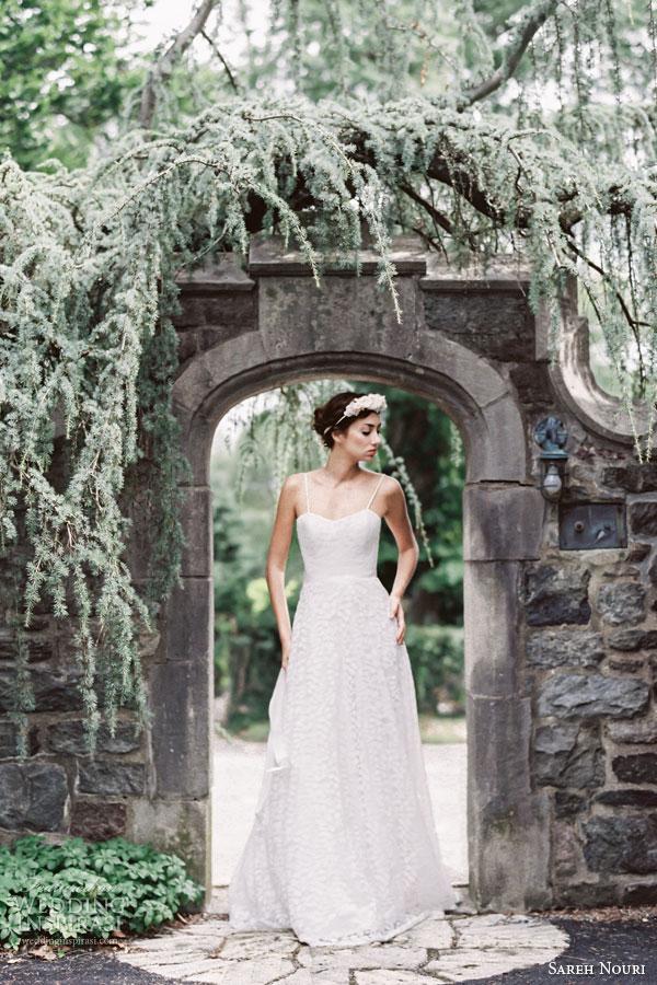 sareh nouri bridal fall 2015 coco soft a line lace gown delicate straps