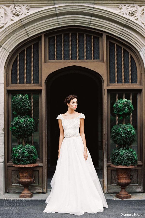 sareh nouri bridal fall 2015 colette cap sleeve wedding dress hand beaed bodice draped organza skirt