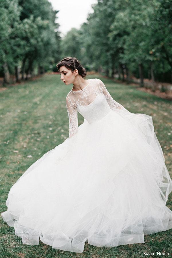 sareh nouri bridal fall 2015 esmeralda long sleeve ball gown wedding dress chantilly lace beading tulle skirt horsehair