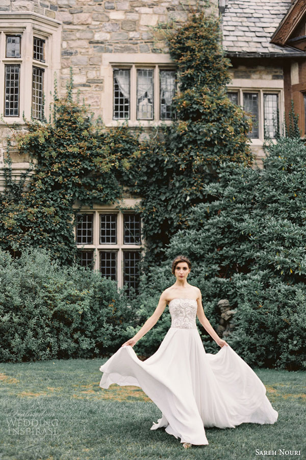 sareh nouri bridal fall 2015 jewel strapless wedding dress beaded sweetheart bodice a line chiffon skirt