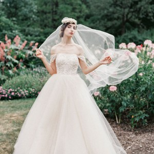 sareh nouri bridal fall 2015 kristina rose blush tulle ball gown wedding dress off shoulder straps drop sleeves
