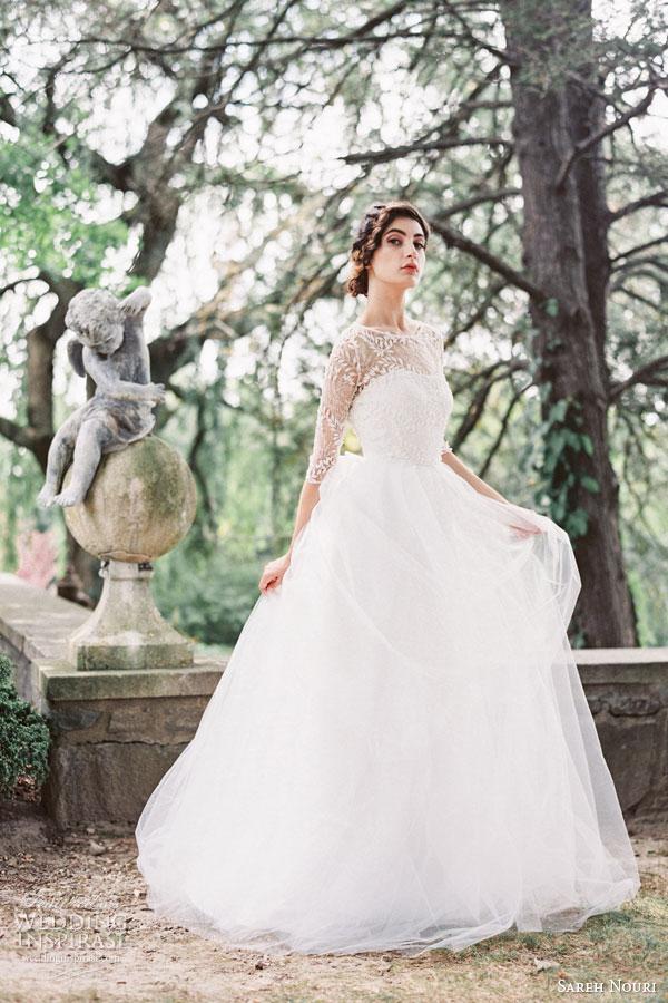 Sareh Nouri Bridal Fall 2015 Layla Soft A Line Wedding Dress Beade Lace Bodice Keyhole Back Sleeves