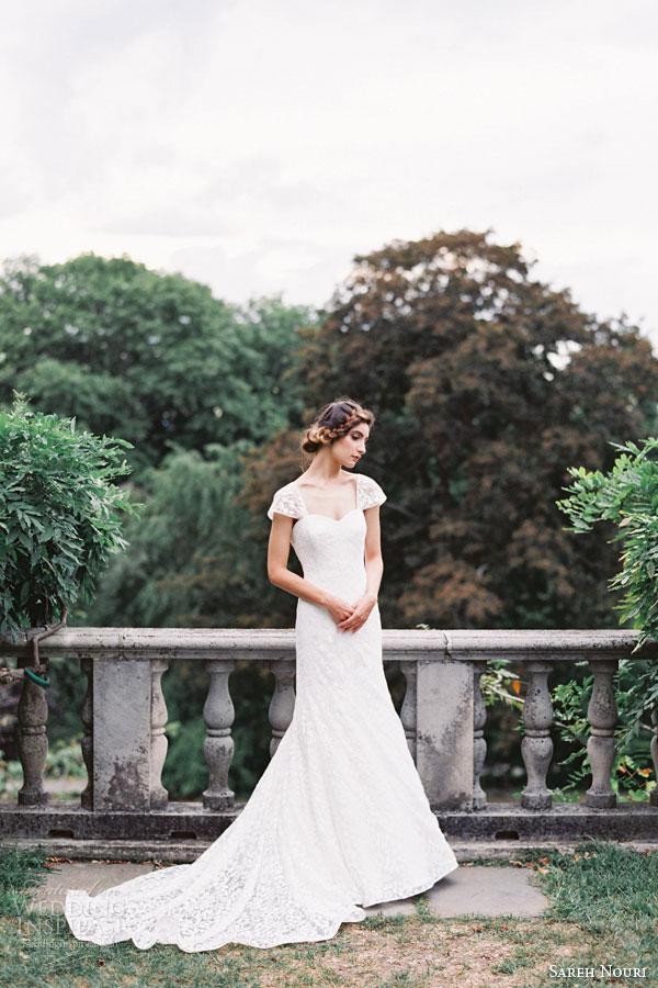 sareh nouri bridal fall 2015 robin trumpet lace wedding dress cap sleeves sweetheart neckline