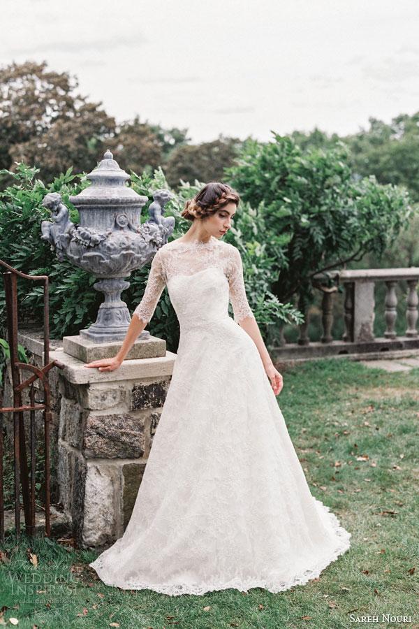 sareh nouri bridal fall 2015 sarabeth alencon lace wedding dress illusion high neckline three quarter sleeves