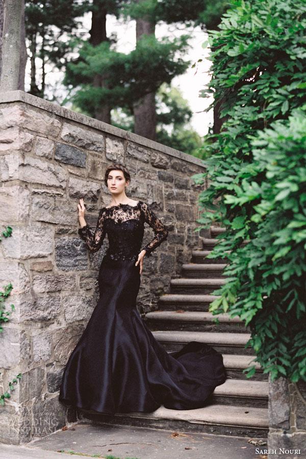 sareh nouri evening fall 2015 midnight black lace wedding dress gazar trumpet gown long sleeves