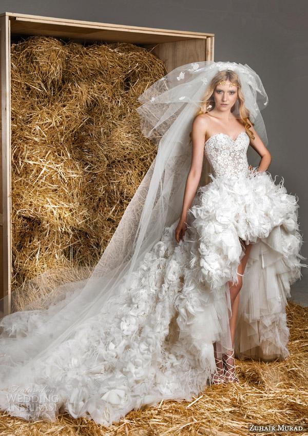zuhair murad bridal spring 2015 ashley strapless sweetheart wedding high low skirt front view