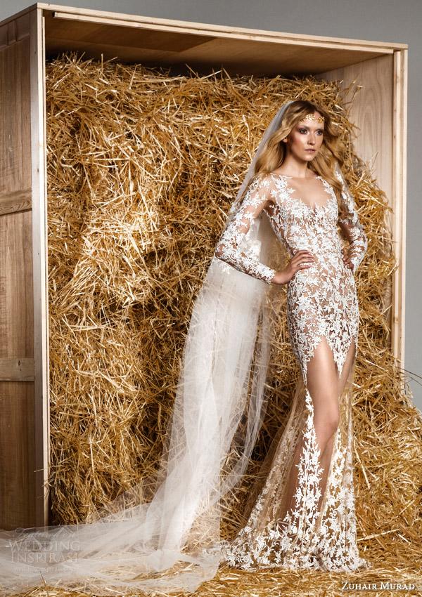 zuhair murad bridal spring 2015 daisy illusion long sleeve sheath wedding dress