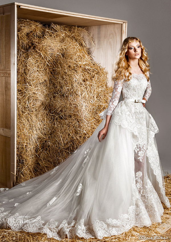 zuhair murad bridal spring 2015 hailey strapless lace mermaid wedding dress long sleeve lace blouse topper over skirt