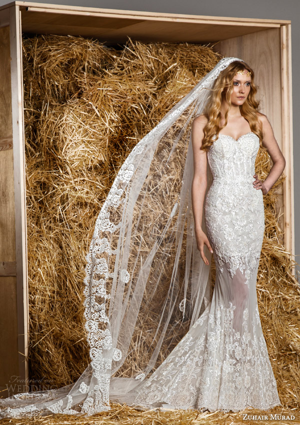 zuhair murad bridal spring 2015 hailey strapless lace mermaid wedding dress